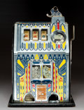 Decorative Arts, American, A Pace Mfg. Co. Comet Enameled Metal and Oak Five Cent Three-Reel Slot Machine, Chicago, circa 1935. Marks: CO...
