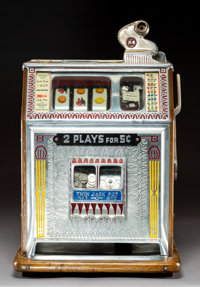 A Watling Scale Co. Inc. Blue Seal Enameled Metal and Oak Five Cent Three-Real Slot Machine