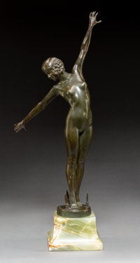 Fernand Ouillon Carrere (French, 20th century) Danseuse aux Lances, circa 1919 Bronze 18-3/4 inch