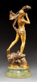Sculpture:European, Henri Peinte (French, 1845-1912). Orphée endormant Cerbère, 1880. Bronze with gold patina. 18-7/8 inches (47.9 cm) high ...