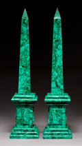 Decorative Arts, French:Other , A Pair of Malachite-Veneered Obelisks, 20th century. 31-3/4 x 7-1/4x 7-1/4 inches (80.6 x 18.4 x 18.4 cm). ... (Total: 2 Items)