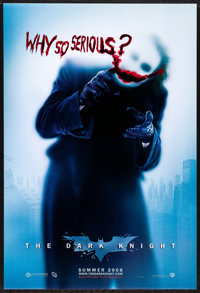 "The Dark Knight (Warner Brothers, 2008) Rolled, Very Fine/Near Mint. One Sheet (27"" X 40"") DS, Advance, ""..."