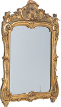 Furniture, A French Régence Louis XV Carved and Giltwood Mirror, 18th century. 42-1/2 x 29 x 2-1/4 inches (108.0 x 73.7 x 5.7 cm). PR...