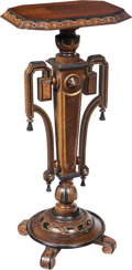 Furniture : Continental, An American Eastlake Carved and Partial Ebonized and Gilt Walnut Pedestal, late 19th century . 37-3/4 x 17-1/4 x 13-3/4 inch...