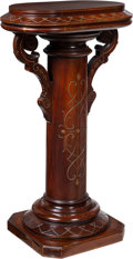 Furniture : American, An American Eastlake Carved Mahogany Columnar Pedestal with OvalTop, late 19th-early 20th century. 38 x 22 x 16 inches (96....