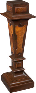 Furniture , A Hardwood and Burl Walnut Pedestal, late 19th-early 20th century. 38-1/4 x 12 x 12 inches (97.2 x 30.5 x 30.5 cm). ...