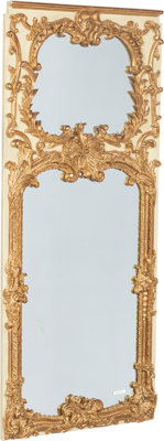 A Rococo Revival-Style Painted and Partial Gilt Trumeau Mirror, 20th century 60-7/8 x 27-1/8 x 1-3/8 inches (154.6