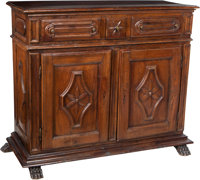 An Italian Carved Walnut Credenza, late 18th century 50 x 63-1/2 x 26-1/2 inches (127 x 161.3 x 67.3 cm)