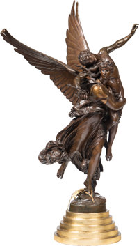 Antonin Mercié (French, 1845-1916) Gloria Victis Bronze with brown patina 36-3/4 inches (93.3 cm)