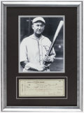 Autographs:Checks, 1948 Ty Cobb Signed Personal Check Display. ...
