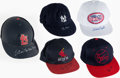 Baseball Collectibles:Hats, Baseball Greats & Hall of Famer Signed Hat/Helmet Lot of 5....