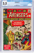 Silver Age (1956-1969):Superhero, The Avengers #1 (Marvel, 1963) CGC VG- 3.5 Off-white pages....