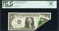 Error Notes:Foldovers, Printed Foldover Error Fr. 1912-D $1 1981A Federal Reserve Note.PCGS Extremely Fine 45.. ...