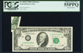 Error Notes:Foldovers, Printed Foldover Error Fr. 2028-J $10 1988A Federal Reserve Note.PCGS Choice About New 55PPQ.. ...