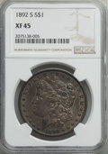 Morgan Dollars: , 1892-S $1 XF45 NGC. NGC Census: (1117/1167). PCGS Population: (1380/1407). CDN: $325 Whsle. Bid for problem-free NGC/PCGS X...