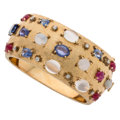 Estate Jewelry:Bracelets, Multi-Stone, Diamond, Gold Bracelet. ...