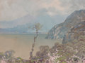 Fine Art - Painting, American, Hezekiah Anthony Dyer (American, 1872-1943). View of the AmalfiCoast. Gouache on paper laid on board. 7-3/4 x 10-1/2 in...