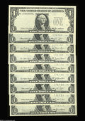 Error Notes:Third Printing on Reverse, A Hoard of $1 Federal Reserve Notes With the Third Printing on the Reverse... (9 notes)