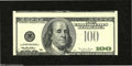 Error Notes:Third Printing on Reverse, Fr. 2175-D $100 1996 Federal Reserve Note. Extremely Fine....