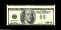 Error Notes:Third Printing on Reverse, Fr. 2175-L $100 1996 Federal Reserve Note. Gem New....