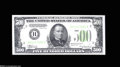 Error Notes:Skewed Reverse Printing, Fr. 2201-B $500 1934 Federal Reserve Note. About New....