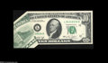 Error Notes:Foldovers, Fr. 2022-L $10 1974 Federal Reserve Note. Choice New....