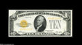 Error Notes:Obstruction Errors, Fr. 2400 $10 1928 Gold Certificate. Choice New....