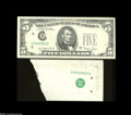 Error Notes:Major Errors, Fr. 1975-H $5 1977A Federal Reserve Note. Gem CrispUncirculated....