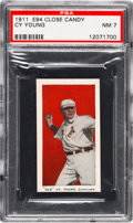 """Baseball Cards:Singles (Pre-1930), 1911 E94 Close Candy """"Old"""" Cy Young (Red) PSA NM 7 - Pop Two, None Higher...."""