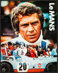 """Le Mans & Other Lot (Cinema Center, 1971) Rolled, Very Fine+. Gulf Promotional Poster (17"""" X 22"""") & Ad..."""
