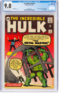 Silver Age (1956-1969):Superhero, The Incredible Hulk #6 (Marvel, 1963) CGC VF/NM 9.0 Off-white towhite pages....