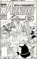 Original Comic Art:Covers, Paul Ryan and Tom Palmer Avengers #312 Cover Falcon, Wasp, and Vision Original Art (Marvel, 1989)....