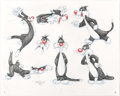 "Animation Art:Color Model, Virgil Ross - Sylvester ""Model Sheet"" Drawing Original Art (WarnerBrothers, c. 1990s)...."