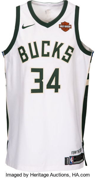 new arrivals 31986 5c1ce 2017-18 Giannis Antetokounmpo Game Worn Milwaukee Bucks ...