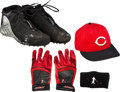 Baseball Collectibles:Others, 2000's Ken Griffey Jr. Game Worn Cleats, Batting Gloves & Cap. ...