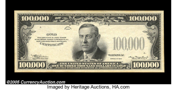 $100,000 1934 Gold Certificate Specimen. Choice New.... Small Size ...