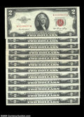 Small Size:Legal Tender Notes, A Later Issue $2 Legal Set, Including... (12 notes)