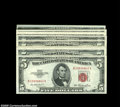 Small Size:Legal Tender Notes, A Selection of Late Issue $5 Legals by Block, Including... (11 notes)