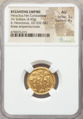Ancients:Byzantine, Ancients: Heraclius (AD 610-641), with Heraclius Constantine andHeraclonas. AV solidus (20mm, 4.43 gm, 6h). NGC AU 3/5 - 4/5....