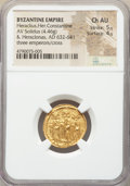Ancients:Byzantine, Ancients: Heraclius (AD 610-641), with Heraclius Constantine andHeraclonas. AV solidus (20mm, 4.46 gm, 6h). NGC Choice AU 5/5 -4/5....