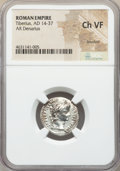 Ancients:Roman Imperial, Ancients: Tiberius (AD 14-37). AR denarius (19mm, 10h). NGC ChoiceVF, brushed....