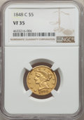 Liberty Half Eagles, 1848-C $5 VF35 NGC. Variety 1....