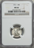 Barber Dimes: , 1911 10C MS66 NGC. NGC Census: (45/10). PCGS Population: (98/22). MS66. Mintage 18,870,544. ...