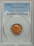 Lincoln Cents: , 1936-S 1C MS67 Red PCGS. Ex: Jerald L. Martin Collection. PCGS Population: (73/0). NGC Census: (129/0). CDN: $550 Whsle. Bi...