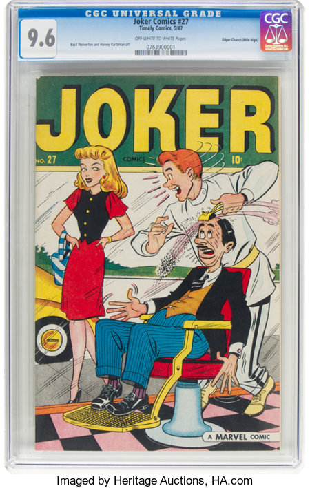 Joker Comics #27 Mile High Pedigree (Timely, 1947) CGC NM+ 9.6 Off-white to white pages....