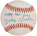 "Autographs:Baseballs, Mickey Mantle ""Happy New Year"" Single Signed Baseball...."