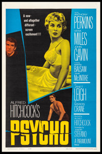 """Psycho (Paramount, 1960) Fine- on Linen. One Sheet (27"""" X 41""""). Hitchcock"""