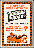 """Movie Posters:Exploitation, No Greater Sin (Alexander International Film, 1941) Folded, Fine+.Poster (40"""" X 60""""). Alternate Title: Lonesome Road. E..."""