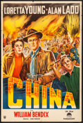 "Movie Posters:War, China (Paramount, 1943) Folded, Fine/Very Fine. Argentinean One Sheet (29"" X 43""). War...."