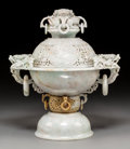 Asian:Chinese, A Chinese Carved Jade Censer. 16-1/4 x 14 x 10-1/8 inches (41.3 x 35.6 x 25.7 cm). ...